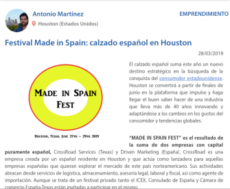 MADE IN SPAIN FEST ARTICULO HOUSTON
